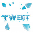 Stok fotoğraf: Breaking tweet metaphor, smashed word explosion