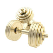 Golden dumbbells one on another isolated — Stock Photo