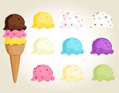 Collection of ice cream — Stock Vector