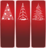 Collection of three type of Christmas trees on a red background — Stock Vector