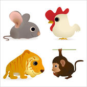 Set of four funny animals - mouse, cock, tiger, monkey — Stok Vektör