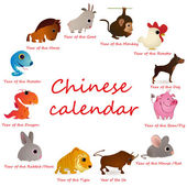 Chinese calendar with 12 animals — Stock Vector
