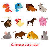 Set of twelve funny animals of the Chinese calendar — Stock Vector
