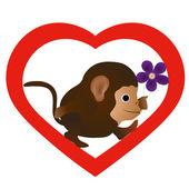 Petit singe drôle avec la fleur dans la silhouette cardiaque — Vecteur