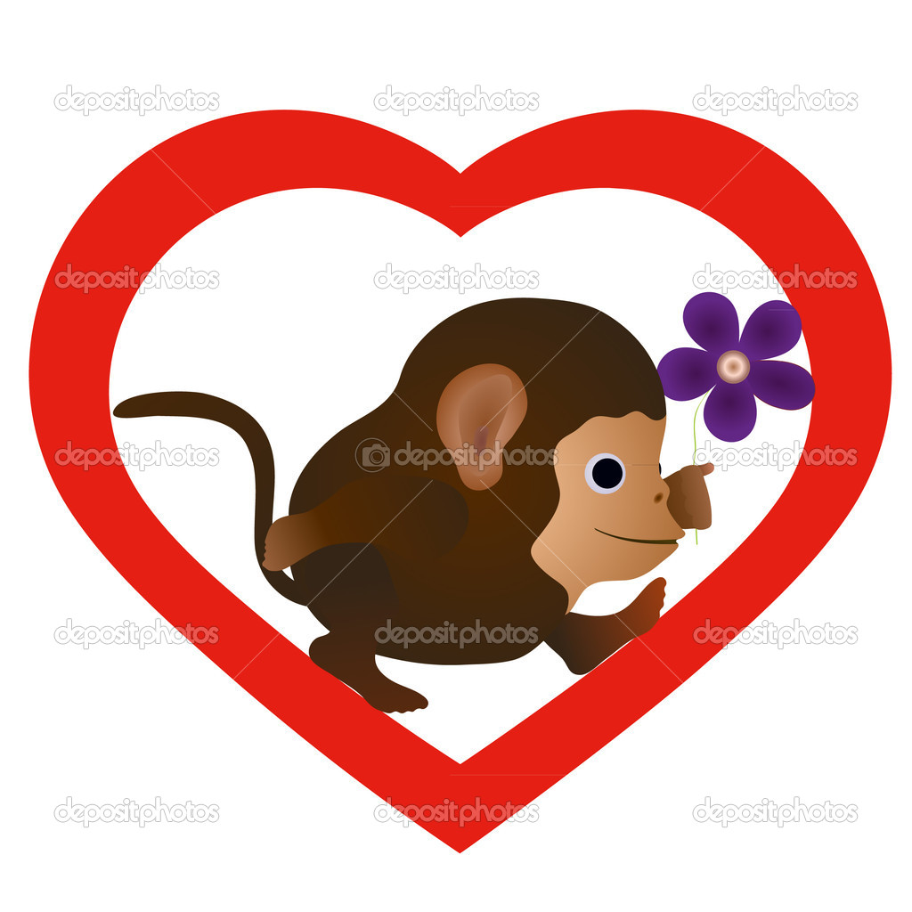 Little funny monkey with flower in the heart  — Stock Vector #10930503