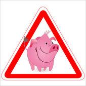 Uyarı işareti ile komik bir yaban domuzu, domuz — Stok Vektör