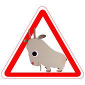 Varovný signál s legrační koza — Stock vektor