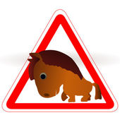 Warning sign with a funny Horse — Stock Vector