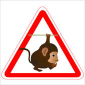 Warning sign with a funny Monkey — Stock Vector
