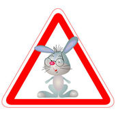 Warning sign with a little grey funny Rabbit — Stock Vector