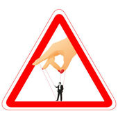Warning sign with woman`s arm holding a businessman for a thread — Stock Vector