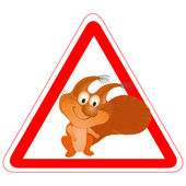 Warning sign with a funny Squirrel — Stock Vector