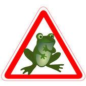 面白いカエルと警告標識 — ストックベクタ