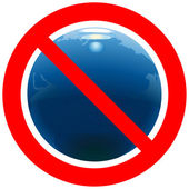 Prohibitory road sign with Earth — Stock Vector
