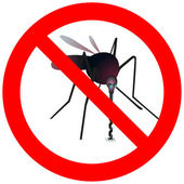 Prohibitory road sign with mosquito — Stock Vector