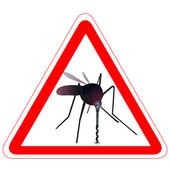 Warning road sign with mosquito — Stock Vector