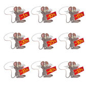 Set of little funny Mouses with discount boards — Stock Vector