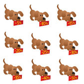 Set of little funny Dogs with discount boards — Stock Vector
