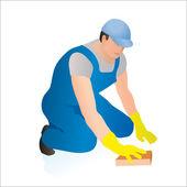 Professionele reiniger vegen de vloer — Stockvector