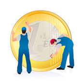 Two professionals cleaning the big Euro coin — Stock Vector