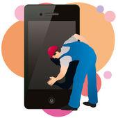 Professionele reiniger vegen van het scherm van de telefoon — Stockvector