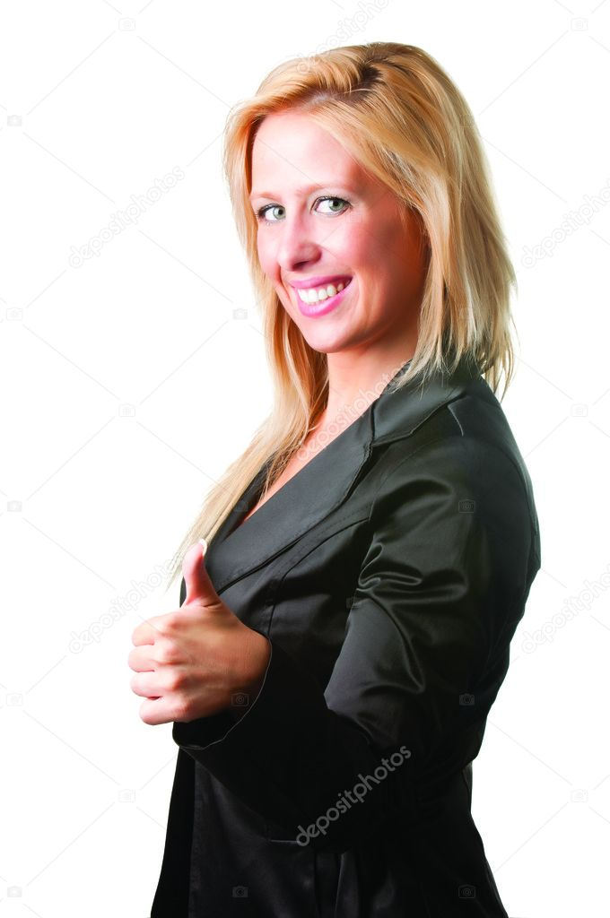 Businesswoman giving the thumbs-up, isolated in a white background — Stock Photo #11736630