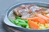 Pork steak and vegetable — Stock Photo