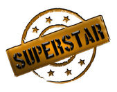 Stamp - SUPERSTAR — Stock Photo