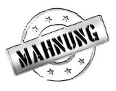 Stamp - MAHNUNG — Stock Photo