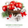 Christmas tinsel with branch firtree and red balls - Stock Photo