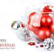 Christmas red balls with festive tinsel — Stock Photo