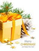 Vánoční dárek s lukem a pobočky firtree — Stock fotografie