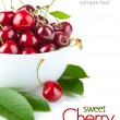 Fresh cherry berries with green leaf - Stok fotoraf