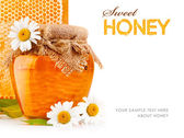 Sweet honey in glass jars with flowers — Stock Photo
