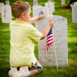 Child straightening a flag at veterans cemetery — Stock Photo #10777625