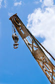 Block and tackle, ball and hook on industrial crane — Stock Photo