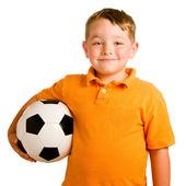 Happy child with soccer ball isolated on white — Stock Photo