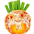Healthy children's snack pizza with pasta sauce, cheese and vegetables on an English muffin in the shape of a smiley face — Stock Photo
