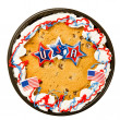 Stock Photo: Big chocolate chip cookie decorated to celebrate Independence Day on July Fourth isolated on white