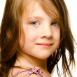 Portrait of a beautiful little girl Isolated on white background. — Stock Photo