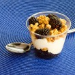 Blackberry, granola and vanilla yogurt parfait — Stock Photo