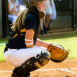 Teen girl playing softball in organized game — Stock Photo #12258486