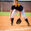 Teen girl playing softball in organized game — Stock Photo #12258492