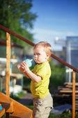 Baby boy drinking juice — Stock Photo