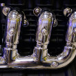 Exhaust pipe of a motorcycle - Stock Photo