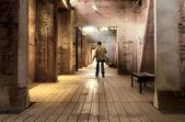 Lungo il corridoio e l'uomo — Foto Stock