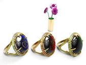 Ruby, emerald och safir ringar — Stockfoto