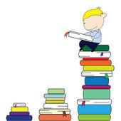 Reading boy — Stock Vector