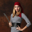 Stock Photo: Beautiful woman pirate posing