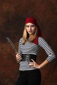 Beautiful woman pirate posing — Stock Photo